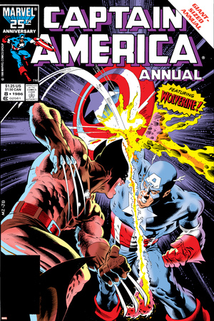 Captain America Annual No.8 Cover: Captain America and Wolverine Flying Stretched Canvas Print