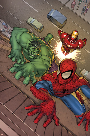 Marvel Adventures Super Heroes No.3 Cover: Spider-Man, Hulk and Iron Man Stretched Canvas Print