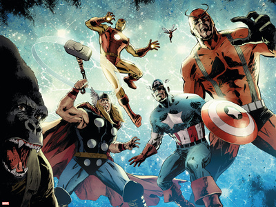 Avengers vs. Atlas No.1 Group: Thor, Iron Man, Captain America and Giant Man Stretched Canvas Print