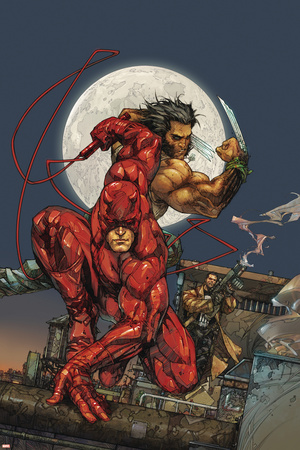 Astonishing Tales No.4 Cover: Daredevil, Wolverine and Punisher Stretched Canvas Print