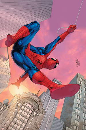 Spider-Man Unlimited No.9 Cover: Spider-Man Swinging Stretched Canvas Print