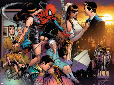 The Amazing Spider-Man No.545 Group: Spider-Man, Parker, Peter, Mary Jane Watson, and May Parker Stretched Canvas Print