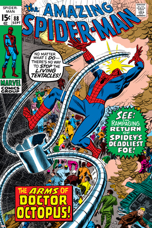 Amazing Spider-Man No.88 Cover: Spider-Man and Doctor Octopus Stretched Canvas Print