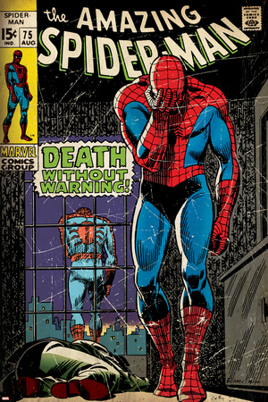 Marvel Comics Retro: The Amazing Spider-Man Comic Book Cover No.75, Death Without Warning! (aged) Stretched Canvas Print