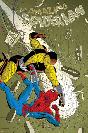The Amazing Spider-Man No.579 Cover: Spider-Man and Shocker Stretched Canvas Print