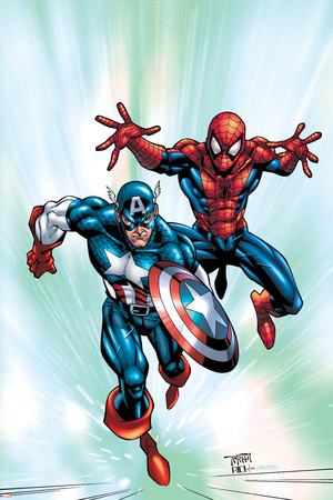 Marvel Age Team Up No.2 Cover: Spider-Man and Captain America Fighting and Flying Stretched Canvas Print