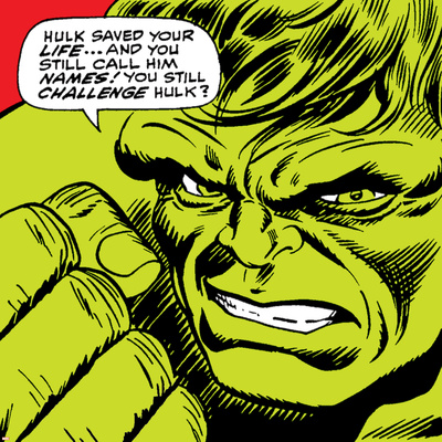 Marvel Comics Retro: The Incredible Hulk Comic Panel Stretched Canvas Print