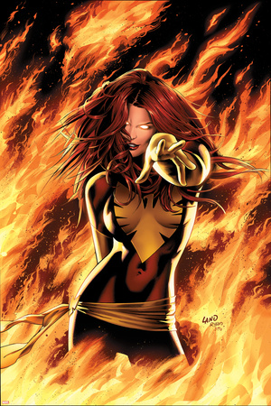 X-Men: Phoenix - Endsong No.1 Cover: Phoenix, Grey and Jean Stretched Canvas Print