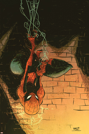 Marvel Adventures Spider-Man No.57 Cover: Spider-Man Stretched Canvas Print