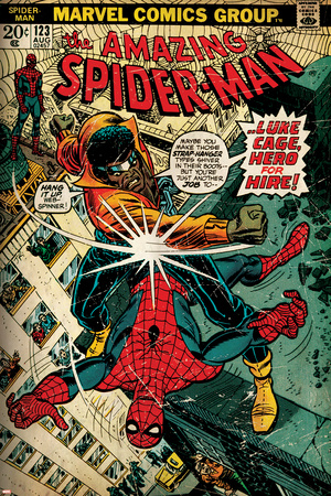 Marvel Comics Retro: The Amazing Spider-Man Comic Book Cover No.123, Luke Cage - Hero for Hire Stretched Canvas Print