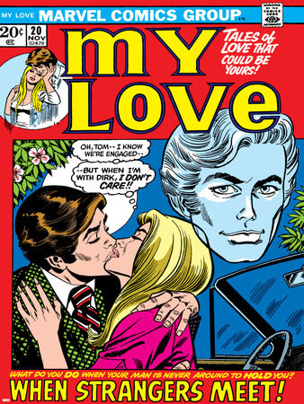 Marvel Comics Retro: My Love Comic Book Cover No.20, Kissing, When Strangers meet! Stretched Canvas Print