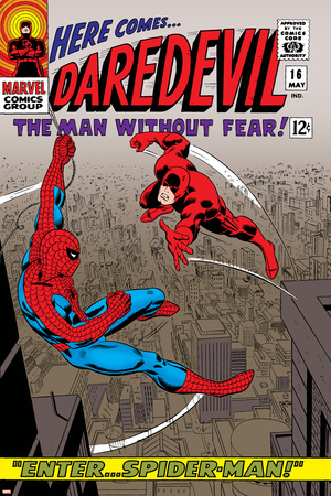 Daredevil No.16 Cover: Spider-Man and Daredevil Charging Stretched Canvas Print