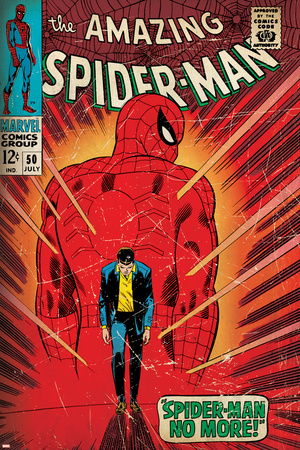 Marvel Comics Retro: The Amazing Spider-Man Comic Book Cover No.50, Spider-Man No More! (aged) Stretched Canvas Print