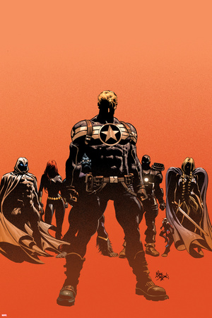 Secret Avengers No.12.1 Cover: Steve Rogers, Moon Knight, Black Widow, War Machine, and Valkyrie Stretched Canvas Print
