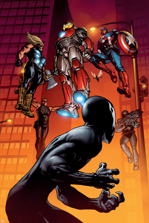 Ultimate Spider-Man No.126 Cover: Spider-Man, Iron Man, Captain America and Thor Stretched Canvas Print