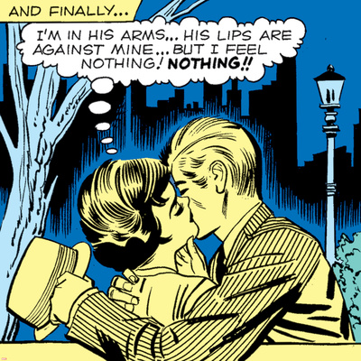 Marvel Comics Retro: Love Comic Panel, Kissing in the Park Stretched Canvas Print