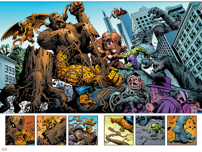 Marvel: Monsters On The Prowl No.1 Group: Hulk, Thing, Groot, Fin Fang Foom and Grogg Stretched Canvas Print