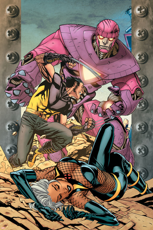 Ultimate X-Men No.85 Cover: Storm, Wolverine and Sentinel Stretched Canvas Print