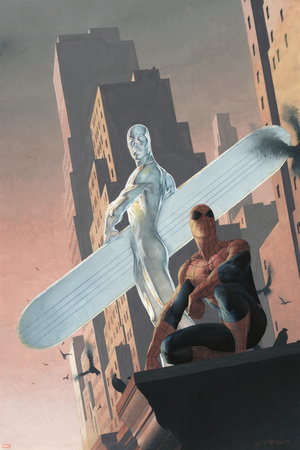 Silver Surfer: Requiem No.2 Cover: Silver Surfer and Spider-Man Stretched Canvas Print