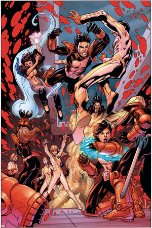 New X-Men No.19 Group: Hellion, Surge, Hellions and New Mutants Stretched Canvas Print