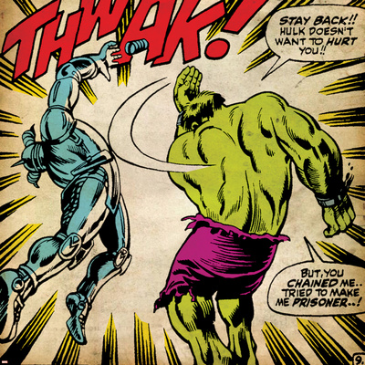 Marvel Comics Retro: The Incredible Hulk Comic Panel, Fighting, Thwak! (aged) Stretched Canvas Print