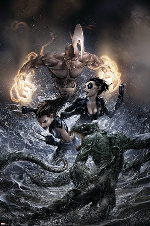 X-Force No.22 Cover: X-23 and Domino Stretched Canvas Print
