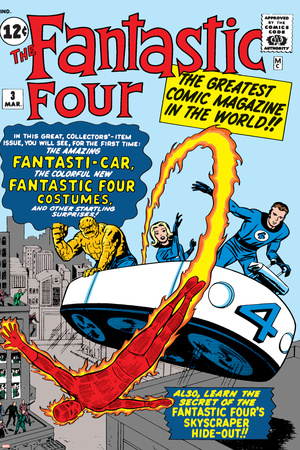 Marvel Comics Retro: Fantastic Four Family Comic Book Cover No.3, Flying Stretched Canvas Print