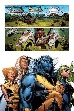 Astonishing X-Men No.32 Group: Beast, Brand, Abigail, Armor and Storm Stretched Canvas Print