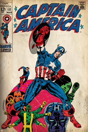 Marvel Comics Retro: Captain America Comic Book Cover No.111, with Hydra and Bucky (aged) Stretched Canvas Print