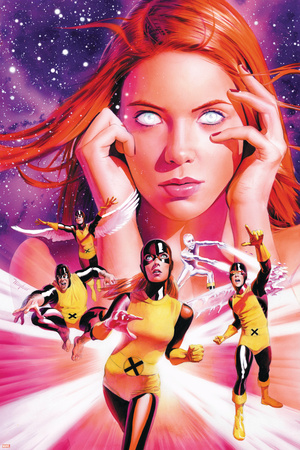 X-Men Origins: Jean Grey No.1 Cover: Grey, Jean, Marvel Girl, Cyclops and Beast Stretched Canvas Print