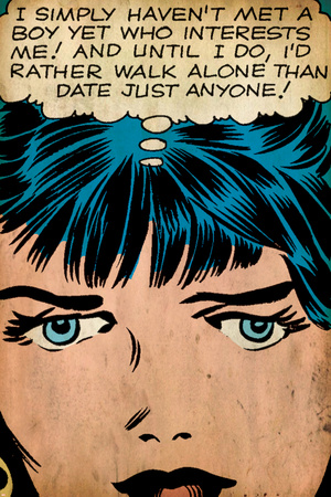 Marvel Comics Retro: Love Comic Panel, Proud Single Woman (aged) Stretched Canvas Print