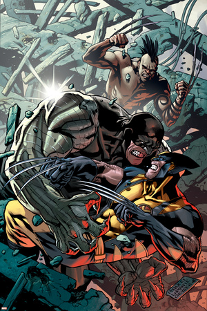 Wolverine: Origins No.32 Cover: Wolverine, Cyber and Daken Stretched Canvas Print