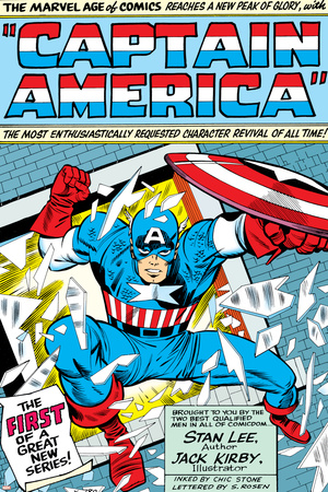 Marvel Comics Retro: Captain America Comic Panel; Smashing through Window; Red, White and Blue Stretched Canvas Print