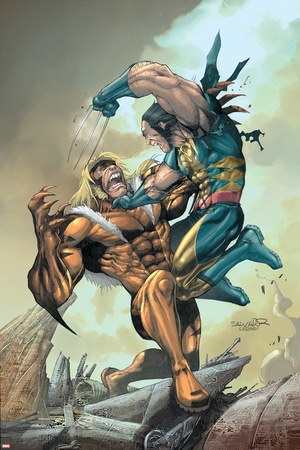 X-Men No.164 Cover: Wolverine and Sabretooth Stretched Canvas Print