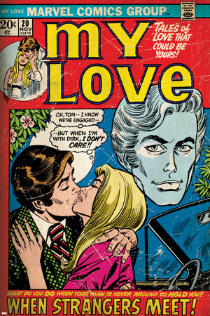 Marvel Comics Retro: My Love Comic Book Cover No.20, Kissing, When Strangers meet! (aged) Stretched Canvas Print