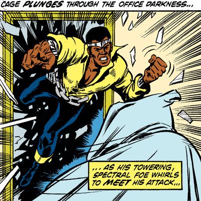 Marvel Comics Retro: Luke Cage, Hero for Hire Comic Panel Stretched Canvas Print