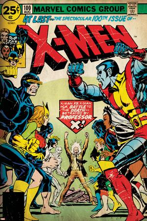 Marvel Comics Retro: The X-Men Comic Book Cover No.100, Professor X (aged) Stretched Canvas Print