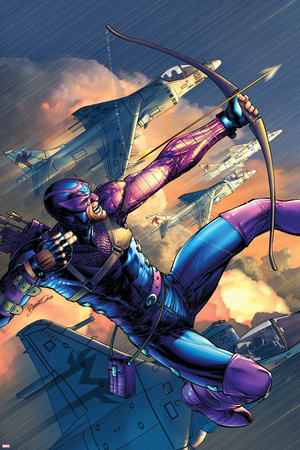 House Of M No.4 Cover: Hawkeye Stretched Canvas Print