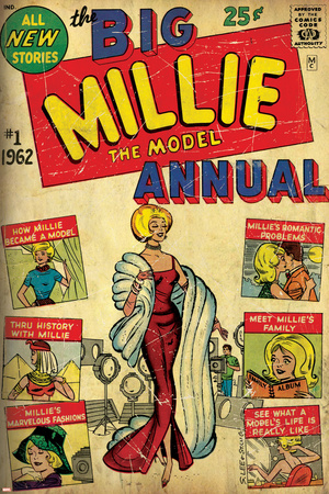 Marvel Comics Retro: Millie the Model Comic Book Cover No.1, the Big Annual (aged) Stretched Canvas Print