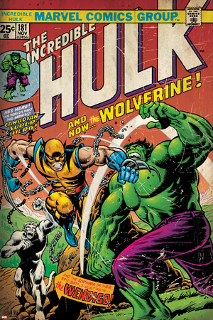 Marvel Comics Retro: The Incredible Hulk Comic Book Cover No.181, with Wolverine (aged) Stretched Canvas Print