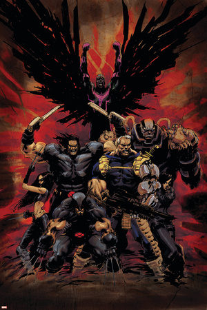 X-Force No.16 Cover: Wolverine, X-23, Cable, Warpath, Apocalypse and Archangel Stretched Canvas Print