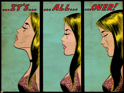Marvel Comics Retro: Love Comic Panel, Crying, It's All Over! (aged) Stretched Canvas Print