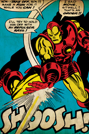 Marvel Comics Retro: The Invincible Iron Man Comic Panel, Fighting and Shooting, Shoosh! (aged) Stretched Canvas Print