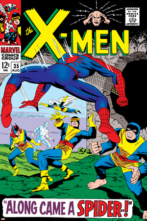 X-Men No.35 Cover: Spider-Man, Beast, Cyclops, Marvel Girl, Iceman and Angel Jumping Stretched Canvas Print