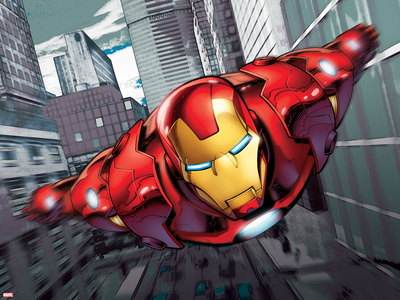 Iron Man Flying Stretched Canvas Print