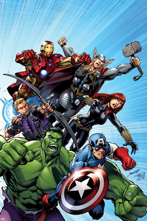 Avengers Assemble No.1 Cover: Captain America, Hulk, Black Widow, Hawkeye, Thor, and Iron Man Stretched Canvas Print