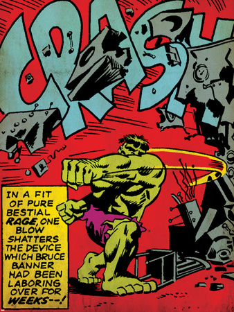 Marvel Comics Retro: The Incredible Hulk Comic Panel, Rage and Crash (aged) Stretched Canvas Print