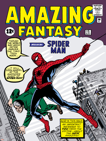 Marvel Comics Retro: Amazing Fantasy Comic Book Cover No.15, Introducing Spider Man Stretched Canvas Print