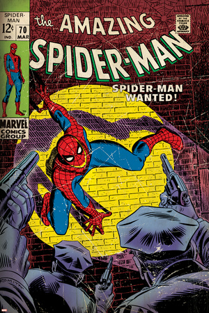 Marvel Comics Retro: The Amazing Spider-Man Comic Book Cover No.70, Wanted! (aged) Stretched Canvas Print