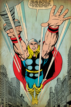Marvel Comics Retro: Mighty Thor Comic Panel, Flying (aged) Stretched Canvas Print